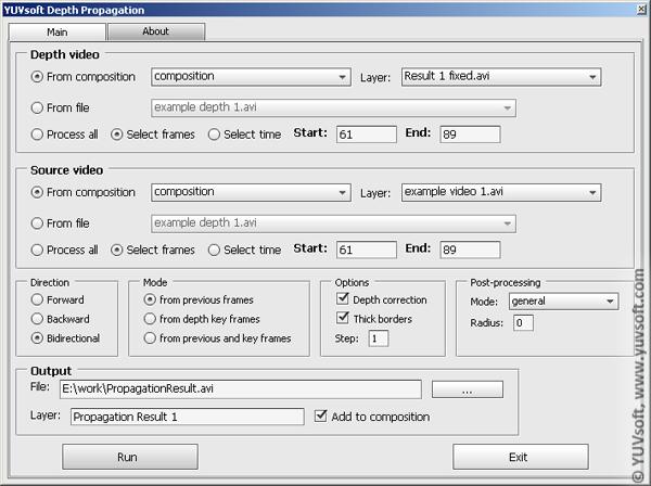 YUVsoft Depth Propagation toolbar