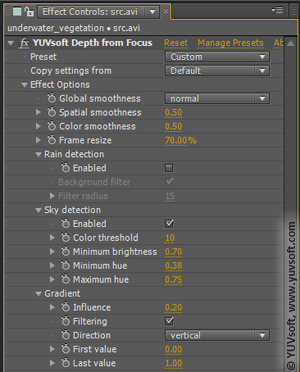 Depth from Focus parameter window
