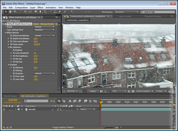 Adobe After Effects composition for Depth from Focus plugin