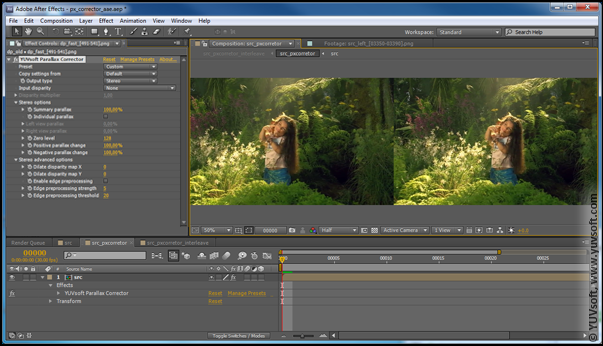 Adobe After Effects Parallax Corrector plugin interface