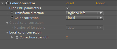 Color Corrector user interface