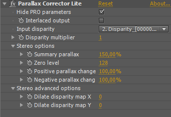 Parallax Corrector Lite user interface
