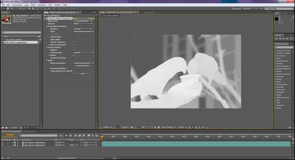 Adobe After Effects Depth Propagation plugin interface