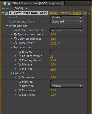 YUVsoft Depth from Focus toolbar