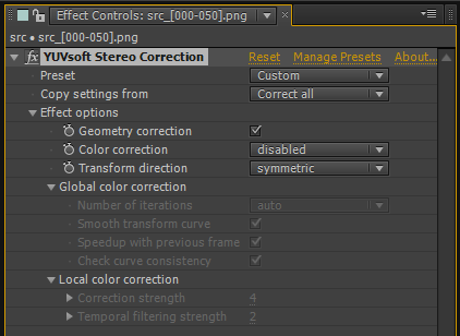 Stereo Correction toolbar